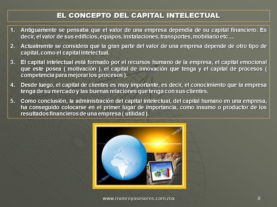 www.monroyasesores.com.mx 8 EL CONCEPTO DEL CAPITAL INTELECTUAL 1.Antiguamente se pensaba que el valor de una empresa dependía de su capital financiero.