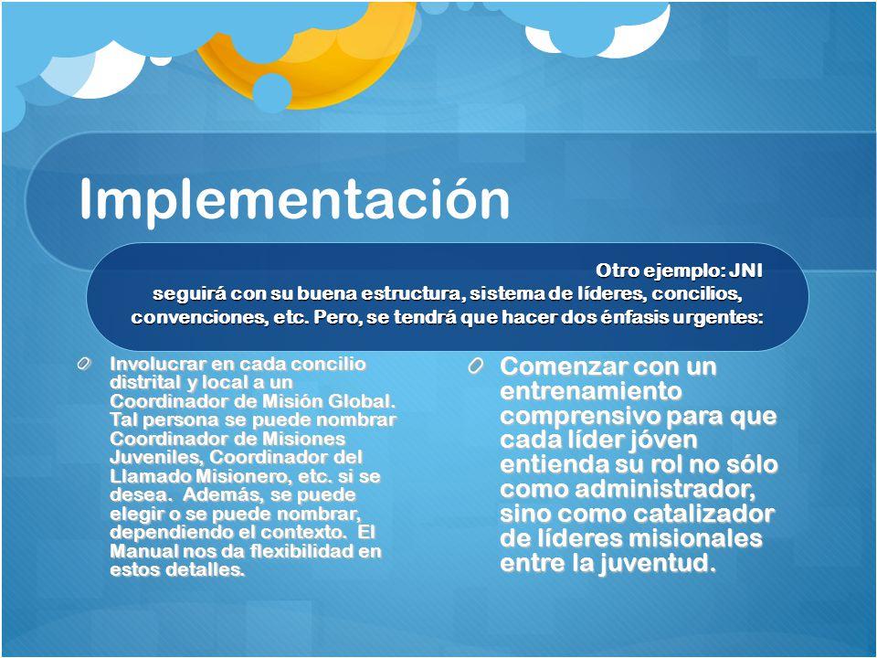 Implementación Involucrar en cada concilio distrital y local a un Coordinador de Misión Global.