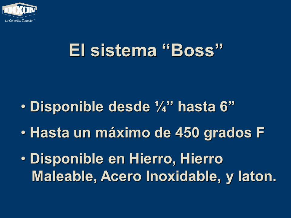 El sistema Boss Disponible desde ¼ hasta 6 Disponible desde ¼ hasta 6 Hasta un máximo de 450 grados F Hasta un máximo de 450 grados F Disponible en Hi