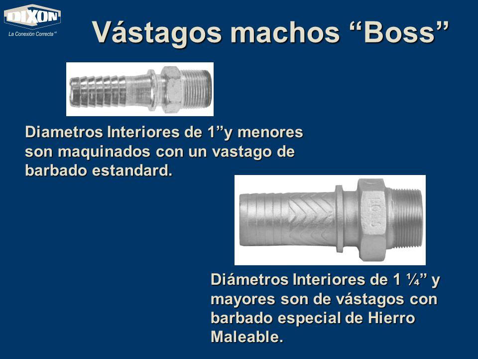 Vástagos machos Boss Diametros Interiores de 1y menores son maquinados con un vastago de barbado estandard. Diámetros Interiores de 1 ¼ y mayores son