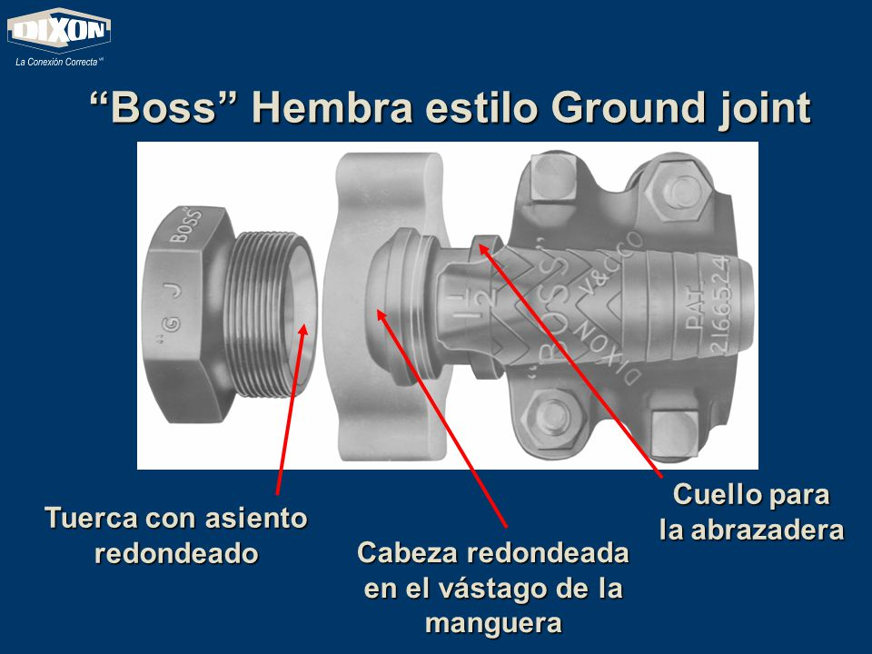 Boss Hembra estilo Ground joint Tuerca con asiento redondeado Cabeza redondeada en el vástago de la manguera Cuello para la abrazadera