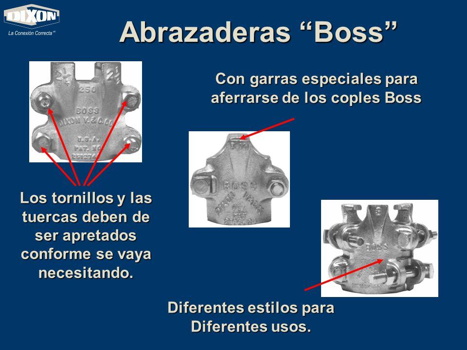 Abrazaderas Boss Los tornillos y las tuercas deben de ser apretados conforme se vaya necesitando. Con garras especiales para aferrarse de los coples B