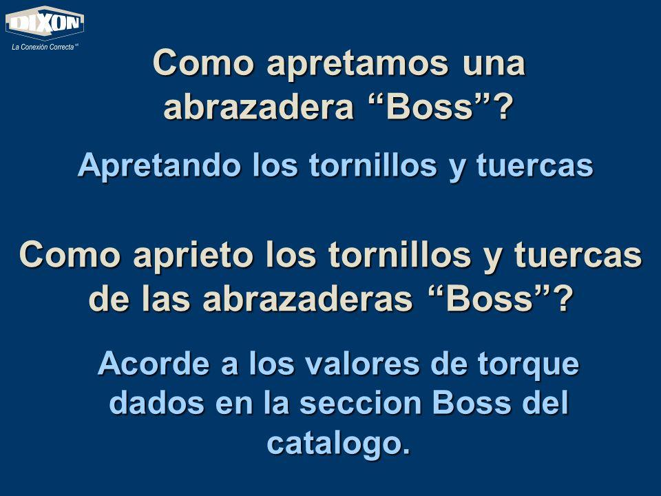 Como apretamos una abrazadera Boss? Apretando los tornillos y tuercas Como aprieto los tornillos y tuercas de las abrazaderas Boss? Acorde a los valor