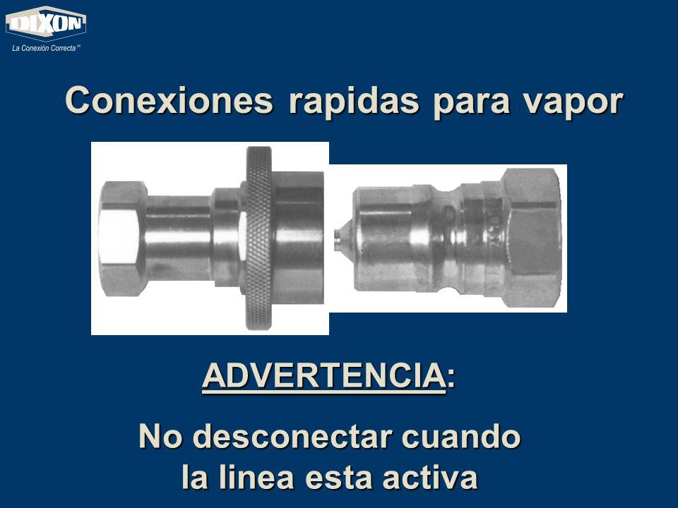 Conexiones rapidas para vapor ADVERTENCIA: No desconectar cuando la linea esta activa