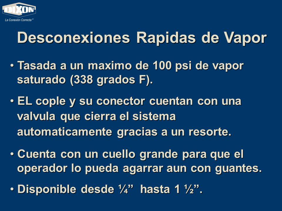 Desconexiones Rapidas de Vapor Tasada a un maximo de 100 psi de vapor saturado (338 grados F). Tasada a un maximo de 100 psi de vapor saturado (338 gr