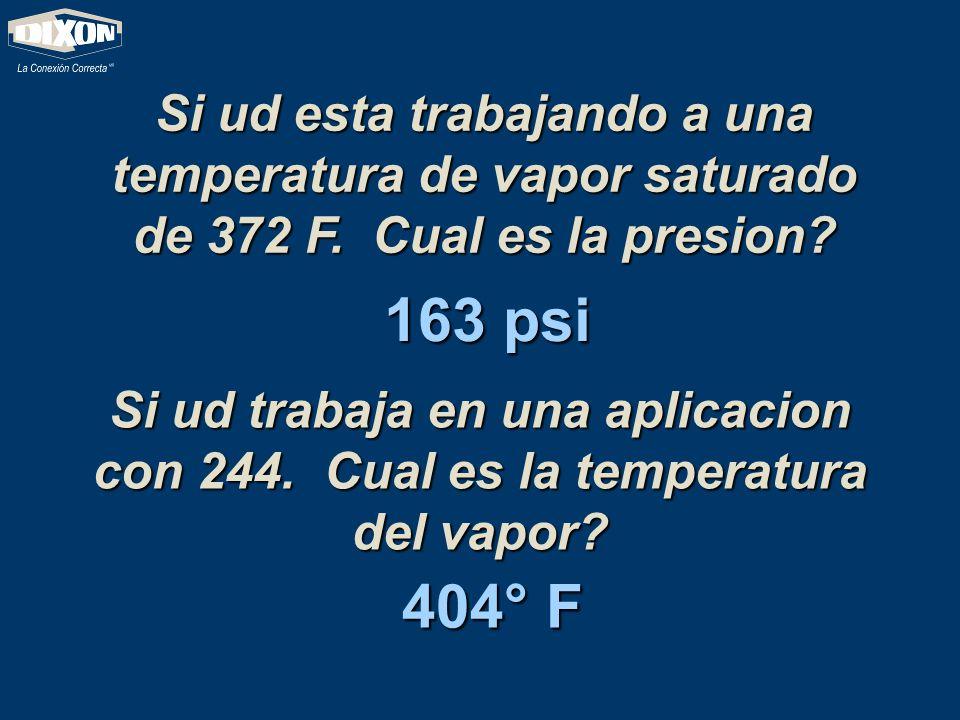 Si ud esta trabajando a una temperatura de vapor saturado de 372 F. Cual es la presion? 163 psi Si ud trabaja en una aplicacion con 244. Cual es la te