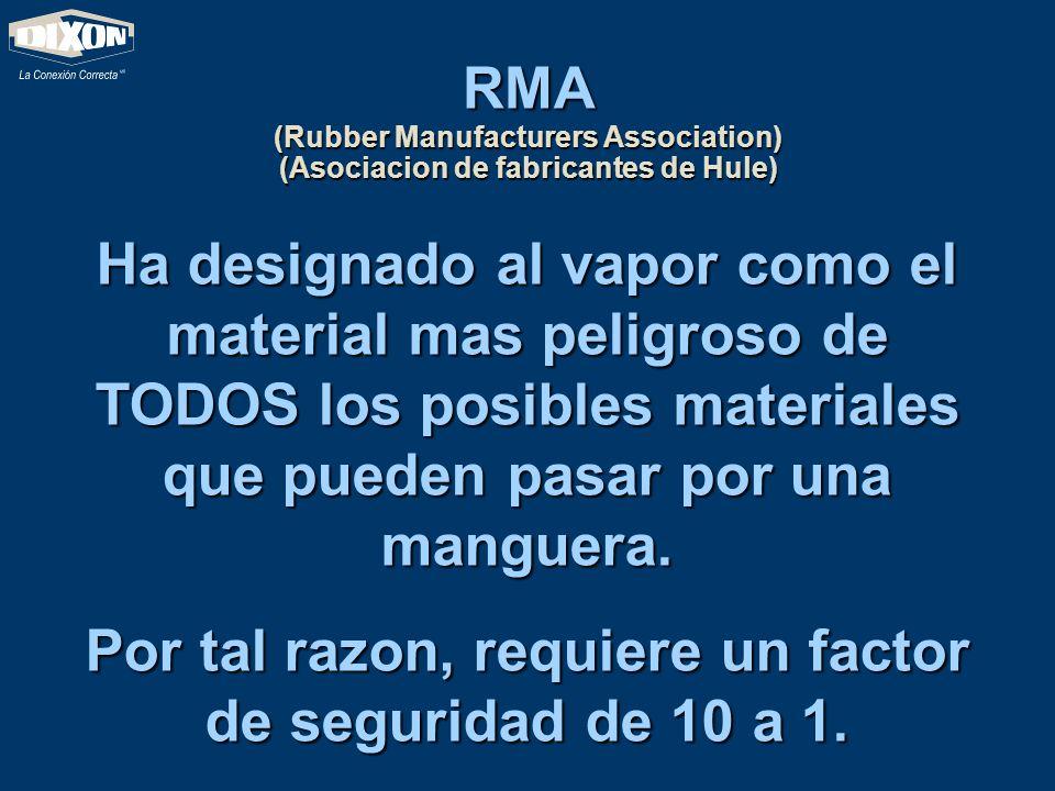 RMA (Rubber Manufacturers Association) (Asociacion de fabricantes de Hule) Ha designado al vapor como el material mas peligroso de TODOS los posibles