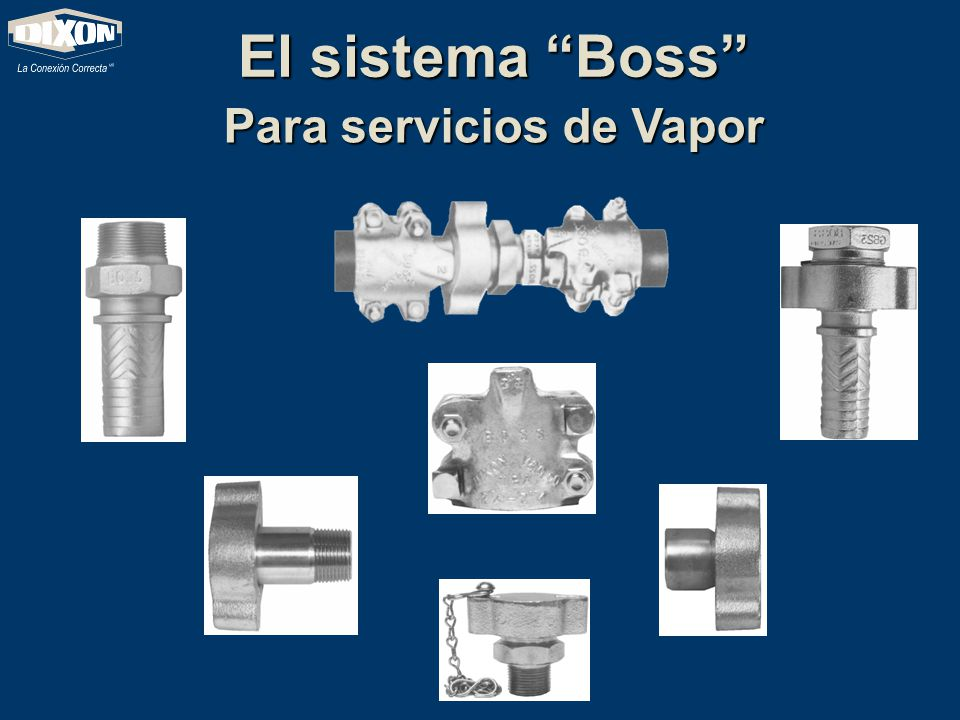 El sistema Boss Disponible desde ¼ hasta 6 Disponible desde ¼ hasta 6 Hasta un máximo de 450 grados F Hasta un máximo de 450 grados F Disponible en Hierro, Hierro Maleable, Acero Inoxidable, y laton.