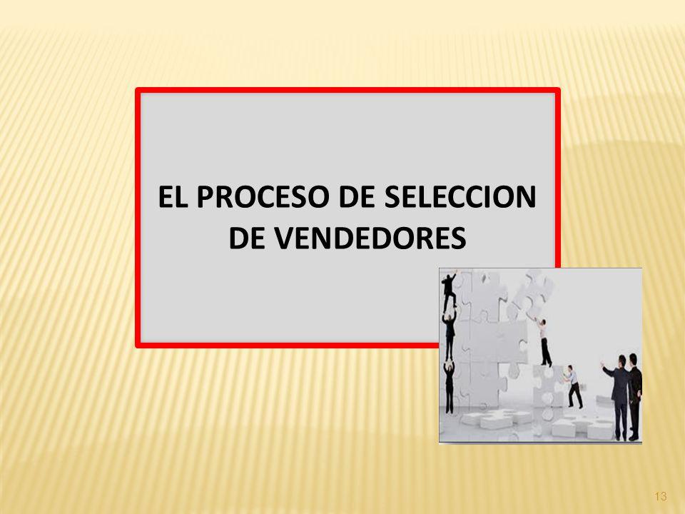 13 EL PROCESO DE SELECCION DE VENDEDORES