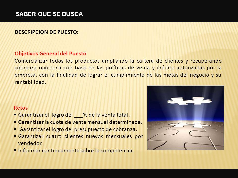 DESCRIPCION DE PUESTO: Objetivos General del Puesto Comercializar todos los productos ampliando la cartera de clientes y recuperando cobranza oportuna