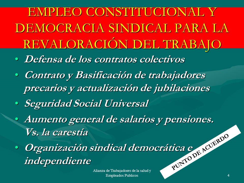 Alianza de Trabajadores de la salud y Empleados Publicos5 LIBRE MERCADO, MAYOR EXPLOTACIÓN DEL TRABAJO Y ELIMINACIÓN DE LAS RESISTENCIAS SOCIALES Abaratamiento de la fuerza de trabajoAbaratamiento de la fuerza de trabajo Reducción del gasto socialReducción del gasto social Mercantilización de los derechos socialesMercantilización de los derechos sociales Intervención en la organización sindicalIntervención en la organización sindical CONCENTRACION DE LA RIQUEZA, DESIGUALDAD Y VIOLENCIA