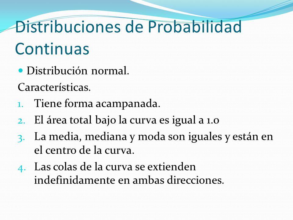Distribuciones de Probabilidad Continuas Distribución normal. Características. 1. Tiene forma acampanada. 2. El área total bajo la curva es igual a 1.