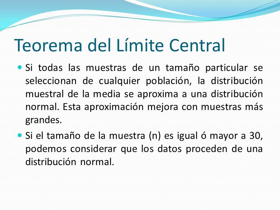 Teorema del Límite Central Si todas las muestras de un tamaño particular se seleccionan de cualquier población, la distribución muestral de la media se aproxima a una distribución normal.