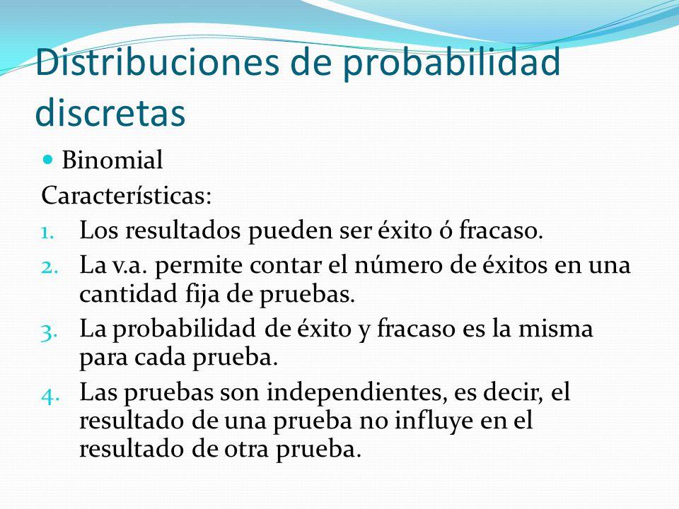 Distribuciones de probabilidad discretas Binomial Características: 1. Los resultados pueden ser éxito ó fracaso. 2. La v.a. permite contar el número d