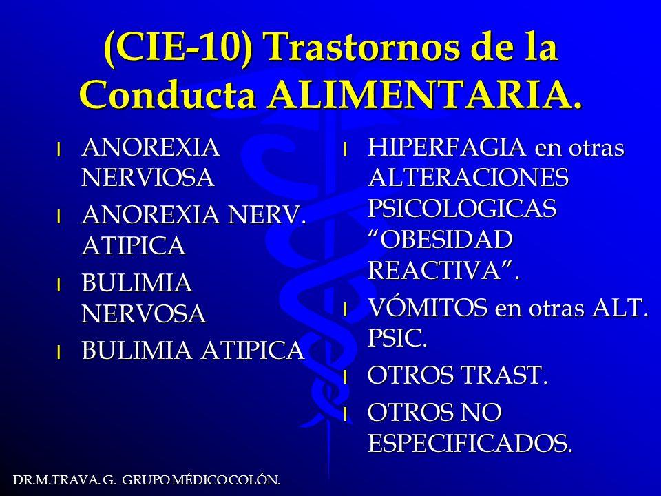 DR.M.TRAVA.G. GRUPO MÉDICO COLÓN. (CIE-10) Trastornos de la Conducta ALIMENTARIA.