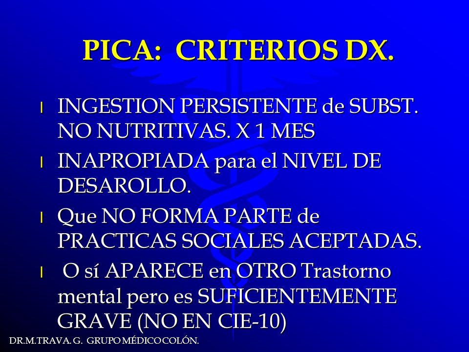 DR.M.TRAVA.G. GRUPO MÉDICO COLÓN. PICA: CRITERIOS DX.
