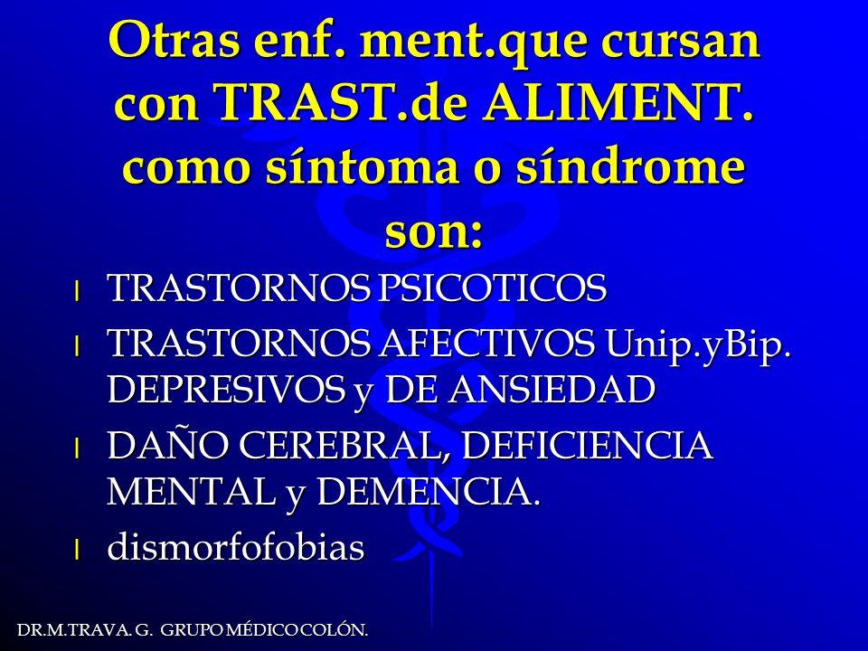 DR.M.TRAVA.G. GRUPO MÉDICO COLÓN. Otras enf. ment.que cursan con TRAST.de ALIMENT.