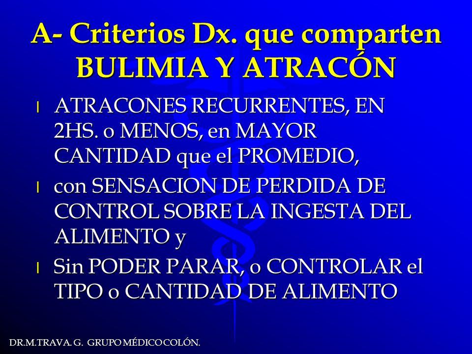 DR.M.TRAVA.G. GRUPO MÉDICO COLÓN. A- Criterios Dx.