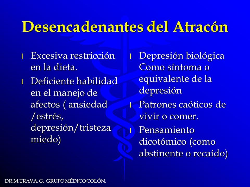 DR.M.TRAVA.G. GRUPO MÉDICO COLÓN. Desencadenantes del Atracón l Excesiva restricción en la dieta.