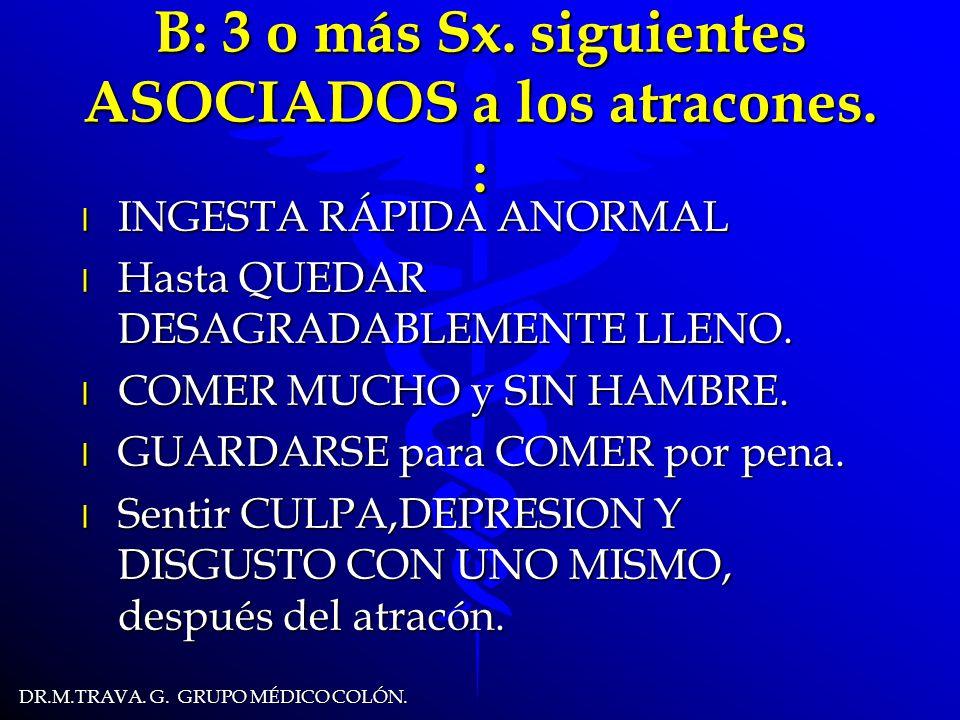 DR.M.TRAVA.G. GRUPO MÉDICO COLÓN. B: 3 o más Sx. siguientes ASOCIADOS a los atracones.