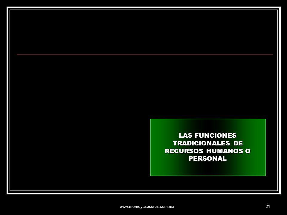 www.monroyasesores.com.mx21 LAS FUNCIONES TRADICIONALES DE RECURSOS HUMANOS O PERSONAL
