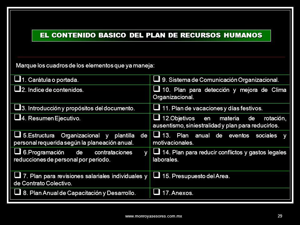 www.monroyasesores.com.mx29 EL CONTENIDO BASICO DEL PLAN DE RECURSOS HUMANOS 1. Carátula o portada. 9. Sistema de Comunicación Organizacional. 2. Indi