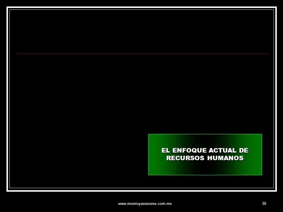 www.monroyasesores.com.mx30 EL ENFOQUE ACTUAL DE RECURSOS HUMANOS