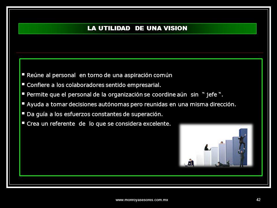 www.monroyasesores.com.mx42 LA UTILIDAD DE UNA VISION Reúne al personal en torno de una aspiración común Confiere a los colaboradores sentido empresar