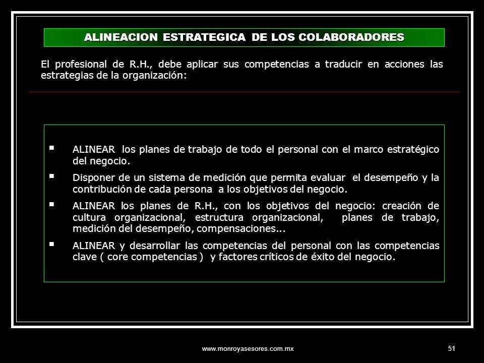 www.monroyasesores.com.mx51 ALINEACION ESTRATEGICA DE LOS COLABORADORES ALINEAR los planes de trabajo de todo el personal con el marco estratégico del