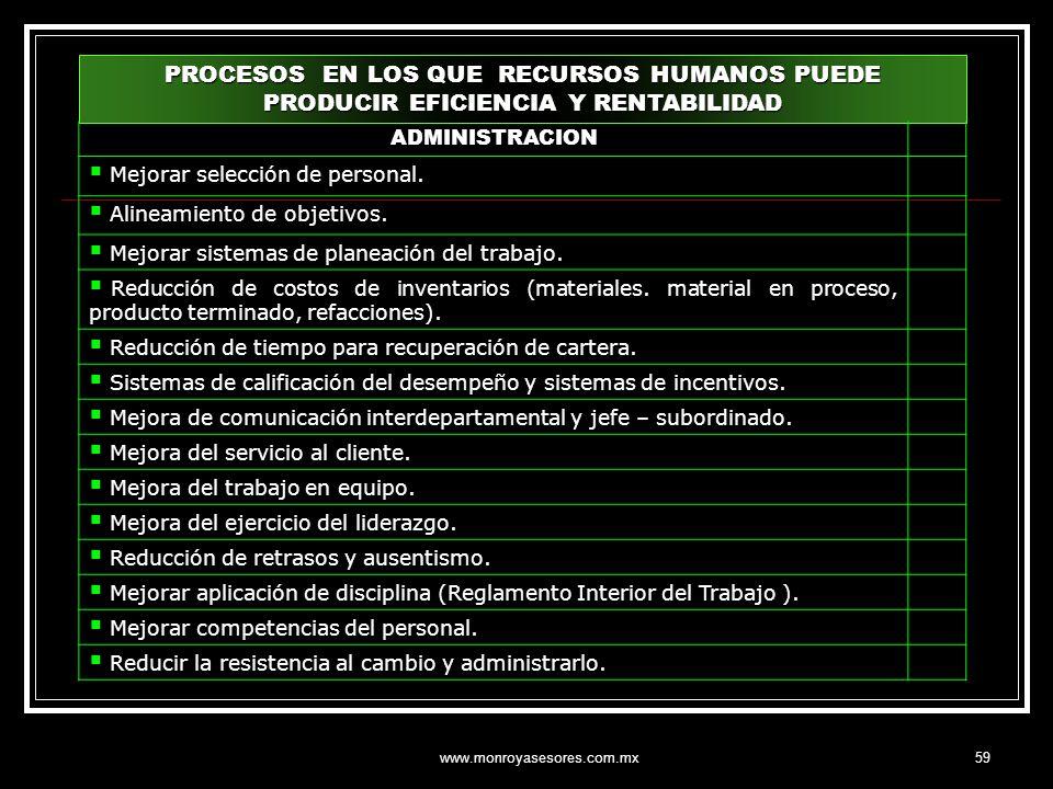 www.monroyasesores.com.mx59 PROCESOS EN LOS QUE RECURSOS HUMANOS PUEDE PRODUCIR EFICIENCIA Y RENTABILIDAD ADMINISTRACION Mejorar selección de personal