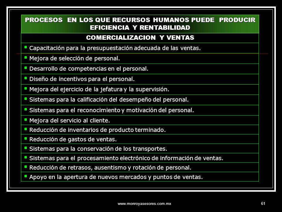 www.monroyasesores.com.mx61 PROCESOS EN LOS QUE RECURSOS HUMANOS PUEDE PRODUCIR EFICIENCIA Y RENTABILIDAD COMERCIALIZACION Y VENTAS Capacitación para