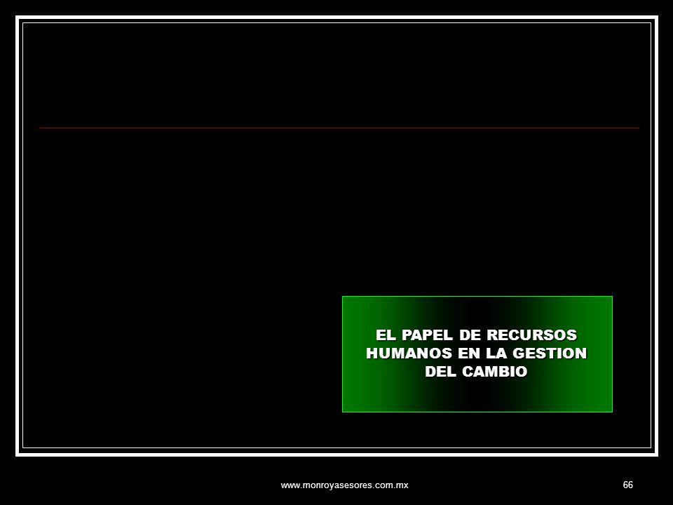 www.monroyasesores.com.mx66 EL PAPEL DE RECURSOS HUMANOS EN LA GESTION DEL CAMBIO