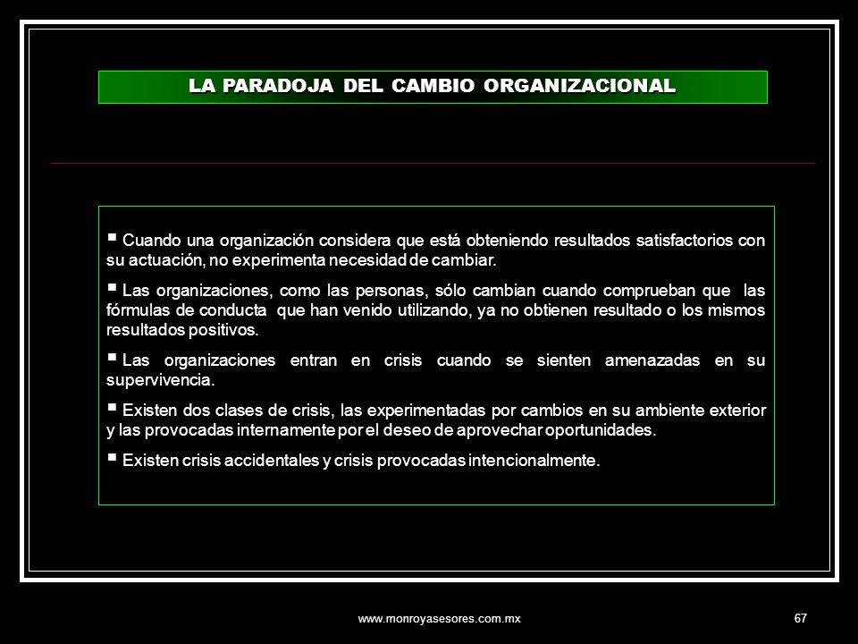 www.monroyasesores.com.mx67 LA PARADOJA DEL CAMBIO ORGANIZACIONAL Cuando una organización considera que está obteniendo resultados satisfactorios con
