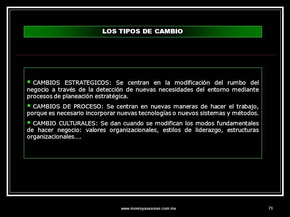 www.monroyasesores.com.mx71 CAMBIOS ESTRATEGICOS: Se centran en la modificación del rumbo del negocio a través de la detección de nuevas necesidades d