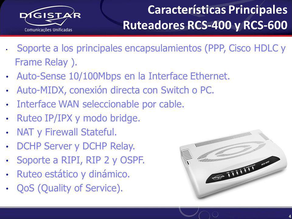 4 Soporte a los principales encapsulamientos (PPP, Cisco HDLC y Frame Relay ).