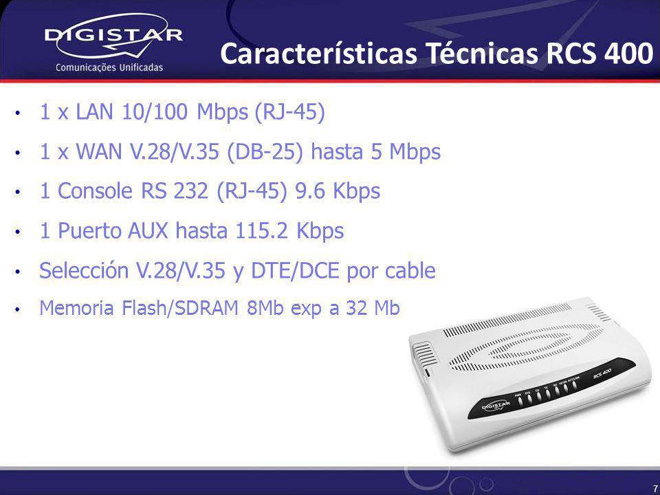 7 1 x LAN 10/100 Mbps (RJ-45) 1 x WAN V.28/V.35 (DB-25) hasta 5 Mbps 1 Console RS 232 (RJ-45) 9.6 Kbps 1 Puerto AUX hasta 115.2 Kbps Selección V.28/V.35 y DTE/DCE por cable Memoria Flash/SDRAM 8Mb exp a 32 Mb Características Técnicas RCS 400
