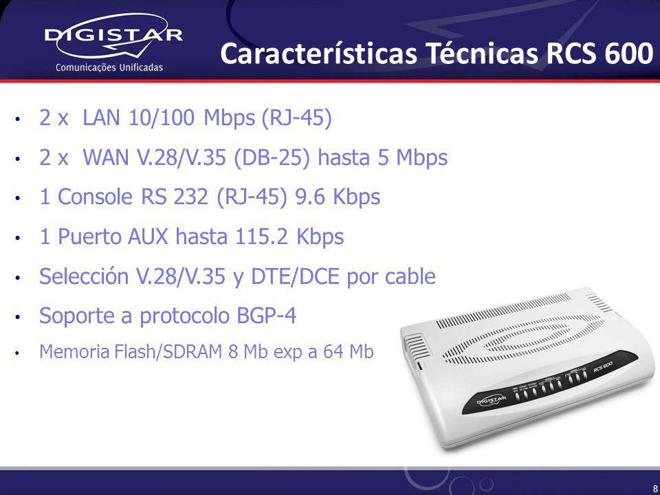 8 2 x LAN 10/100 Mbps (RJ-45) 2 x WAN V.28/V.35 (DB-25) hasta 5 Mbps 1 Console RS 232 (RJ-45) 9.6 Kbps 1 Puerto AUX hasta 115.2 Kbps Selección V.28/V.35 y DTE/DCE por cable Soporte a protocolo BGP-4 Memoria Flash/SDRAM 8 Mb exp a 64 Mb Características Técnicas RCS 600