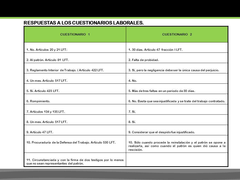 RESPUESTAS A LOS CUESTIONARIOS LABORALES.CUESTIONARIO 1CUESTIONARIO 2 1.