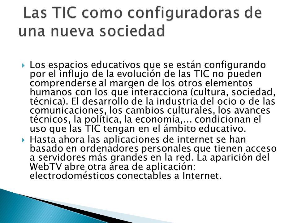 Los espacios educativos que se están configurando por el influjo de la evolución de las TIC no pueden comprenderse al margen de los otros elementos hu