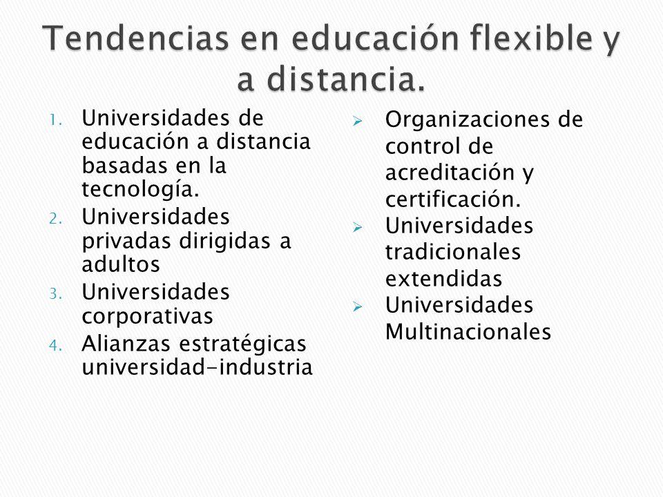 1. Universidades de educación a distancia basadas en la tecnología. 2. Universidades privadas dirigidas a adultos 3. Universidades corporativas 4. Ali