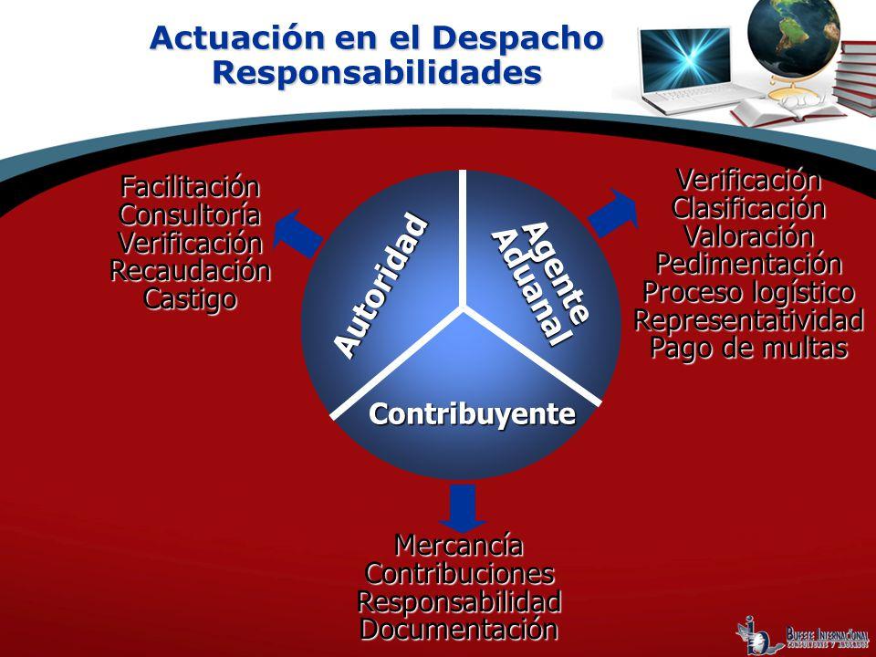 Actuación en el Despacho Responsabilidades FacilitaciónConsultoríaVerificaciónRecaudaciónCastigo VerificaciónClasificaciónValoraciónPedimentación Proc
