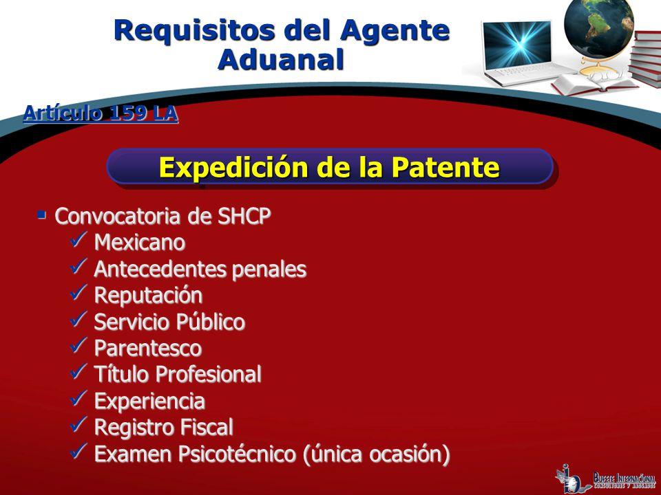 Requisitos del Agente Aduanal Expedición de la Patente Artículo 159 LA Convocatoria de SHCP Convocatoria de SHCP Mexicano Mexicano Antecedentes penale