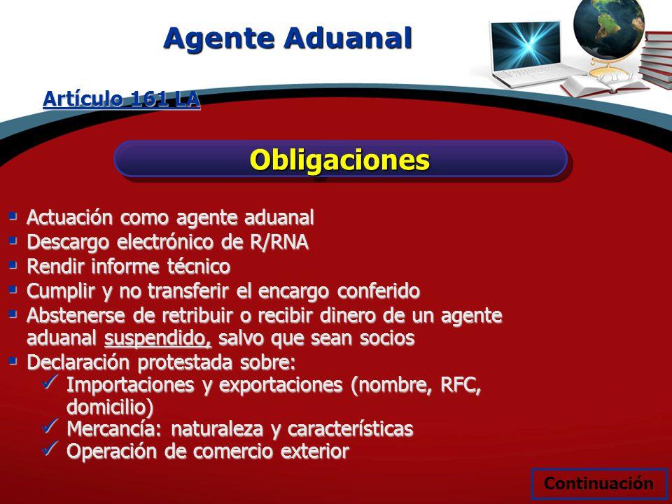 Agente Aduanal ObligacionesObligaciones Artículo 161 LA Actuación como agente aduanal Actuación como agente aduanal Descargo electrónico de R/RNA Desc