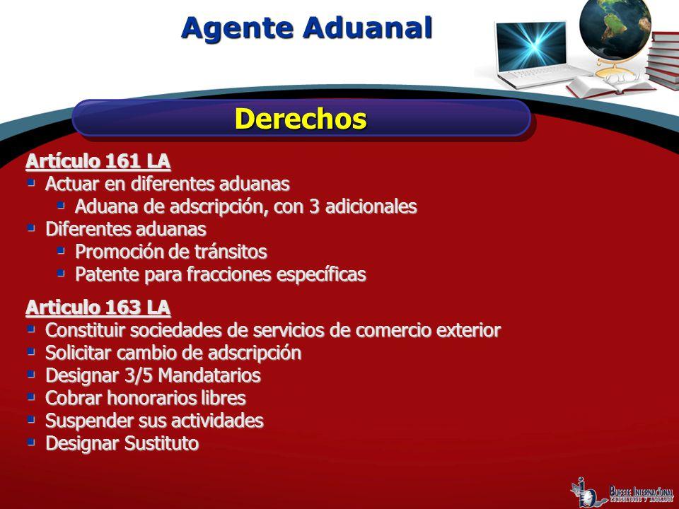 Agente Aduanal DerechosDerechos Artículo 161 LA Actuar en diferentes aduanas Actuar en diferentes aduanas Aduana de adscripción, con 3 adicionales Adu