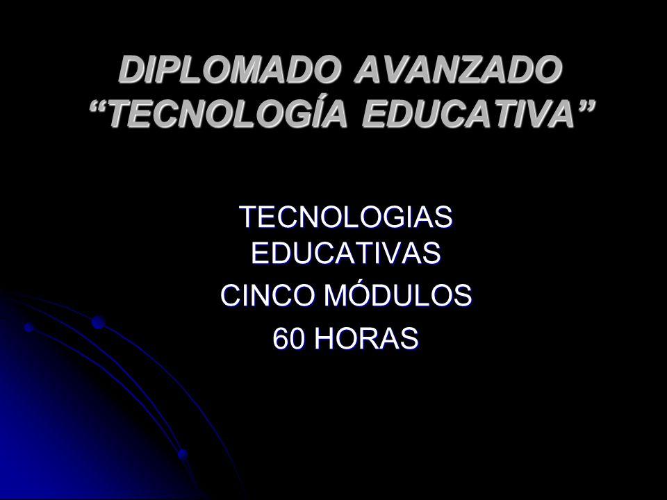 DIPLOMADO AVANZADO TECNOLOGÍA EDUCATIVA TECNOLOGIAS EDUCATIVAS CINCO MÓDULOS 60 HORAS
