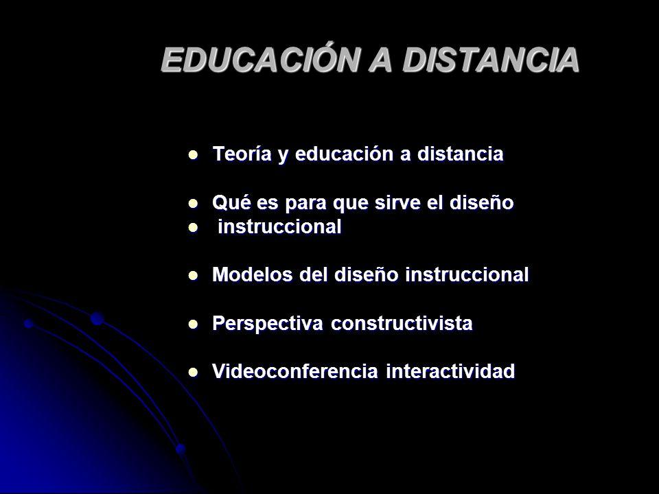 EDUCACIÓN A DISTANCIA Teoría y educación a distancia Teoría y educación a distancia Qué es para que sirve el diseño Qué es para que sirve el diseño in