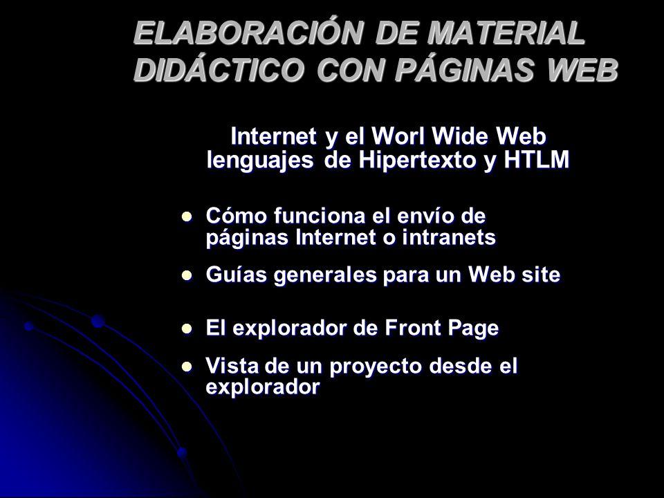 ELABORACIÓN DE MATERIAL DIDÁCTICO CON PÁGINAS WEB Internet y el Worl Wide Web lenguajes de Hipertexto y HTLM Cómo funciona el envío de páginas Interne