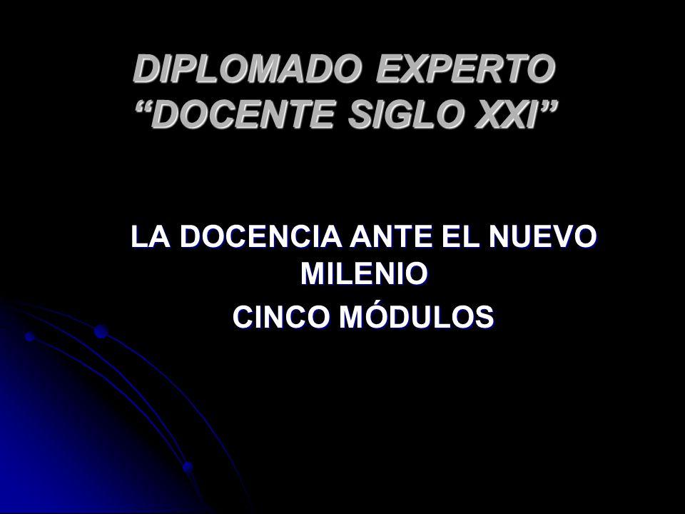 DIPLOMADO EXPERTO DOCENTE SIGLO XXI LA DOCENCIA ANTE EL NUEVO MILENIO CINCO MÓDULOS