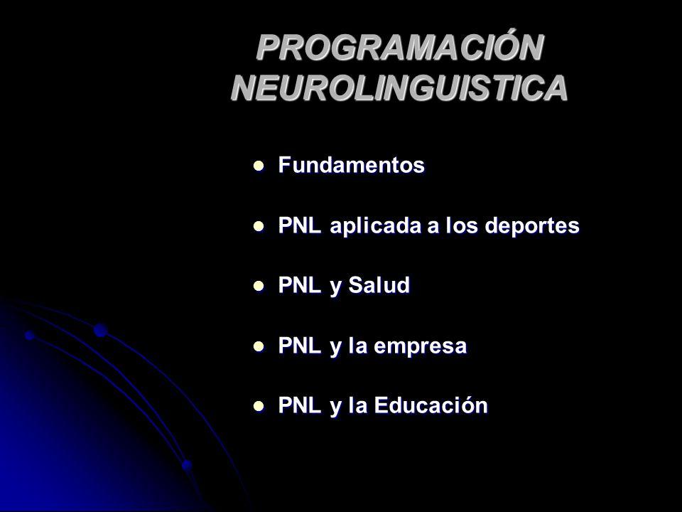 PROGRAMACIÓN NEUROLINGUISTICA Fundamentos Fundamentos PNL aplicada a los deportes PNL aplicada a los deportes PNL y Salud PNL y Salud PNL y la empresa
