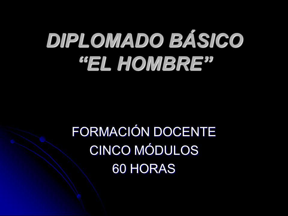 DIPLOMADO BÁSICO EL HOMBRE FORMACIÓN DOCENTE CINCO MÓDULOS 60 HORAS